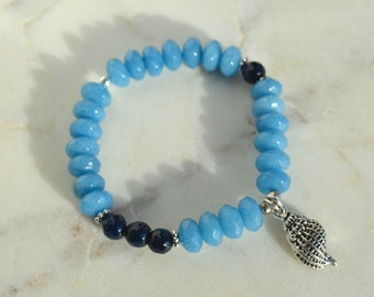 SEA bracelet - Made dark stones dark Aquamarine & blue Jade