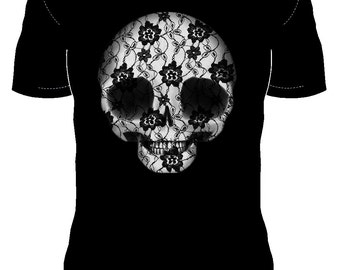 Now you can wear the #DeadPullipSociety Lace Skull Digital Painting! A beautiful print on a quality black t-shirt...