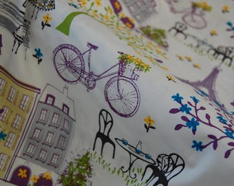 Paris Scenes Fabric by the Yard, Eiffel Tower Fabric
