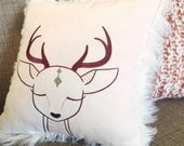 Dreaming Reindeer faux fur pillow / holiday decor / winter decor