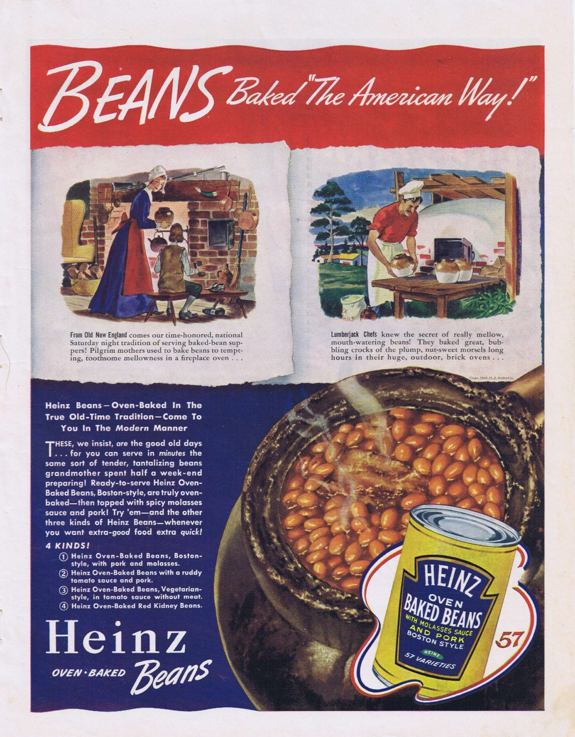 1940 Heinz Oven Baked Beans Original Vintage Advertisement