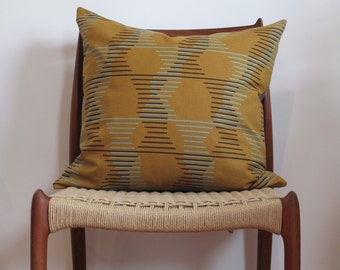 Retro Pillow Cover, Orange, Brown, Geometric, Cotton, Japanese Print, Jungalow, Boho, Retro