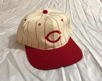 Cincinnati Red Vintage Starter Pinstripe Snapback Hat