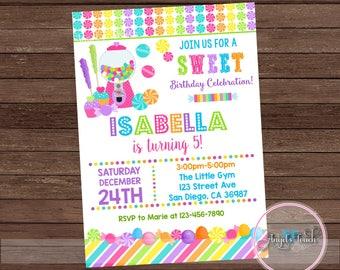 Candyland Party Invitation, Candy Land Birthday Invitation, Candyland Birthday Party Invitation, Candyland Invitation, Digital File
