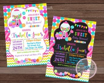 Candyland Baby Shower Party Invitation, Candy Land Baby Shower Invitation, Candyland  Baby Shower Invitation