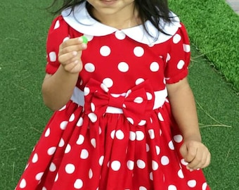 Red or Pink Minnie Mouse Dress/Costume for Babies or Little Girls