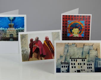 Tibetan Buddhist Fine Art Illustrated Blank Greeting Cards, Set of 4, FREE SHIPPING WORLDWIDE