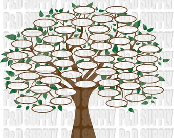 Family Tree 52 SVG, DXF Digital cut file for cricut or Silhouette svg, dxf - 52 Circles for Family Members