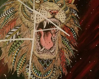"""8.5""""x11"""" Handmade ORIGINAL Acrylic and coloring book page painting Lions Roar Prints"""