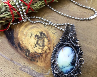 Dendrite amulet in oxidized Sterling Silver