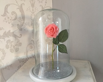 PINK Rose Bell Jar Glass Dome with Decorated Base