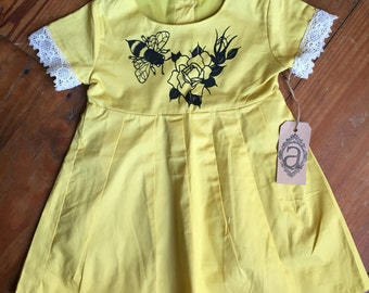 Toddler Yellow Dress with Bumblebee and Flowers