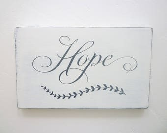 Hope, Distressed Wood Sign, Rustic, Primitive, Farmhouse, Shabby Chic, French Country, Cottage Chic, Gallery Wall Decor