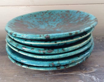 Handmade ceramic turquoise and silver 5in dish, perfect for dipping, prep bowl, trinkets and jewellery gift. Bohemian rustic  home  decor