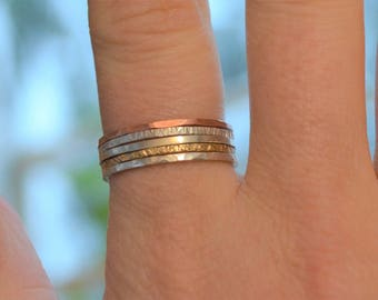 Silver, Gold and Copper Stacking Rings- Set of 5