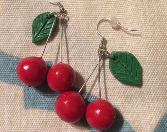 Clay cherry earrings