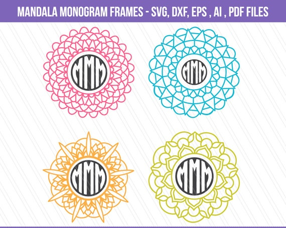 Mandala SVG cutting file DXF Mandala monogram frames