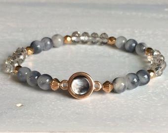 Black and white/rose gold bracelet
