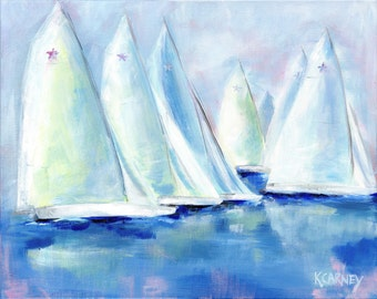 Star Sails: 16 x 20 Limited edition signed & numbered giclee print from original sailing painting