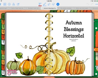 Autumn Blessings Tabbed Horizontal Digital Planner