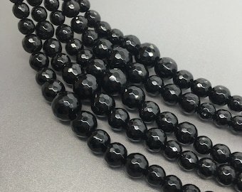 "16""Full Strand 6-14mm Black Jade Graduated Faceted Round Beads, Wholesale Graduated Necklace"