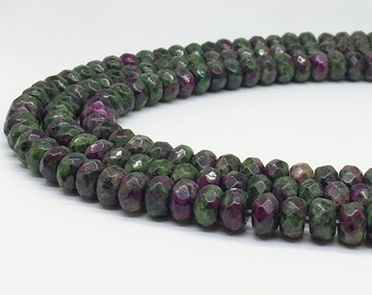 1Full Strand Ruby Zoisite Rondelle Faceted Beads , 5mm*8mm Ruby Zoisite Gemstone For Jewelry Making