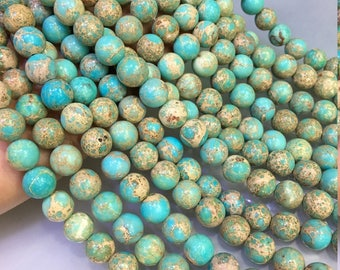 1Full Strand Blue Impression Jasper Beads ,8mm 10mm 12mm Wholesale Gemstone For Jewelry Making