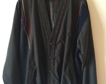 80s Dark Green Bomber Jacket With Knit Panels