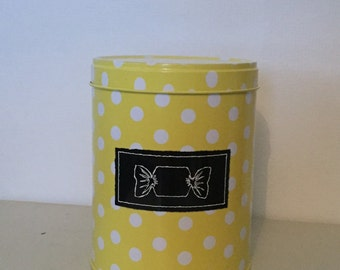 Swedish Liquorice & Cola Sweets Storage Tin, Yellow Spotty Design, Excellent Condition - Useful Kitchen Storage Tin