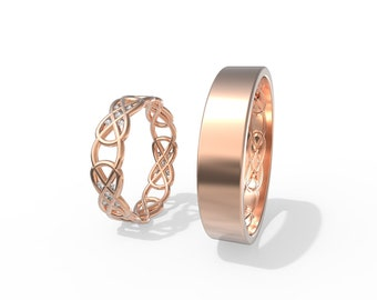 14K Rose Gold Celtic Wedding Rings set with Diamonds | Handmade 14k rose gold Celtic wedding Rings set |His and Hers Wedding Bands Set