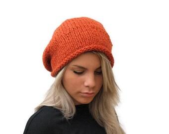 Slouchy hat Orange chunky hand knit hat Knit winter hat Orange slouchy hat Wool Women Beanie Hat Knit Women Hat