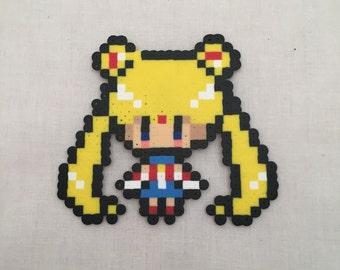 Sailor Moon Perler Bead Art Magnet Anime Cartoon Nerd Geek Gift Japanese Kawaii Sprite Pixel 8bit Art