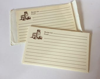 3 x 5 Recipe Cards - Vintage Recipe Cards - Bell Jar Kitchen - Kitchen Decor - Vintage Recipe Cards - Brown Recipe Cards - 1980s Kitchen