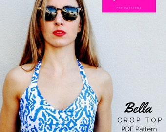 PDF Sewing Pattern Download: Halter neck crop top. Small, medium, large.