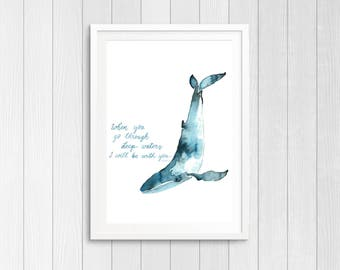 Whale watercolor art - Isaiah 43:2