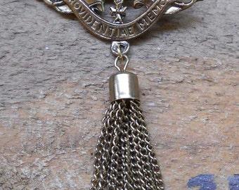 Providentiae Memor Kingdom of Saxony Brooch with Tassel Vintage Pin