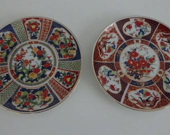 Pair of Antique Japanese Hand-Painted Imari Porcelain Wall Plaques / Collectors Plates w/ Hooks