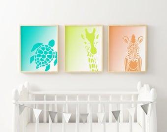 Animal Two Tone Wall Art - Set of 3