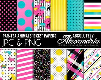PAR-TEA Animals Digital Papers - Personal & Commercial Use - Zoo Animal Paper, Pet Birthday Graphics,  Patterns, Party Scrapbook Page Kit