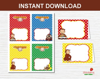 Curious George Food Labels Printable, Food Tents, Party Favors, Place Cards, Curious George Birthday Decorations, Editable