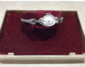 Vintage white gold ladies Gruen Watch