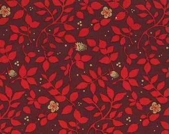 BTHY - Christmas on Brambleberry Ridge by Violet Craft for Michael Miller, #MD6457-BURG-D Brambleberry, Red Branches, Metallic Gold Flowers