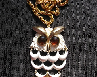Large Vintage White And Gold Metal Owl Necklace