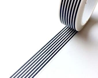 Black and White Stripe Washi Tape Monochrome