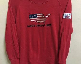 Vintage 90's Lady Sport Club Classic Design Skate Sweat Shirt Sweater Varsity Jacket Size L #A636