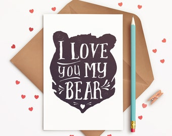 I love you my bear - postcard