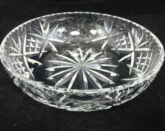 Vintage Clear Lead Crystal Cut Glass Shallow Fruit or Trifle Bowl - wedding centrepiece lead crystal bowl