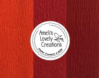 60g Italian fine crepe paper (Feinkrepp) - dark orange, red, dark red - Quality made in Italy by Cartotecnica Rossi.