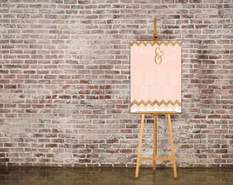 Blush Pink and Rose Gold Wedding Seating Chart Table Plan - Poster Print - Digital Download - Wedding Printable - Table Plan