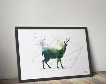 Poster animal landscape: deer - customizable - gilding - color - decoration - living room - bedroom